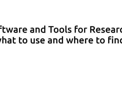 Software and Tools for Research